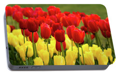 Portable Battery Charger featuring the photograph Red And Yellow Tulips by Mary Jo Allen