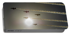 Portable Battery Charger featuring the photograph Red Arrows Backlit Arrival  by Gary Eason