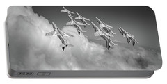 Portable Battery Charger featuring the photograph Red Arrows Sky High Bw Version by Gary Eason