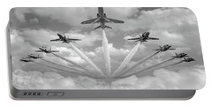 Portable Battery Charger featuring the photograph Red Arrows Smoke On Bw Version by Gary Eason
