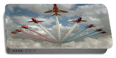 Portable Battery Charger featuring the photograph Red Arrows Smoke On  by Gary Eason