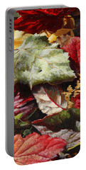 Portable Battery Charger featuring the painting Red Autumn - Wasilla Leaves by Karen Whitworth