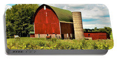 0040 - Red Barn And Horses Portable Battery Charger