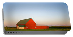 Red Barn And The Moon Portable Battery Charger