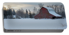 Red Barn At Dawn Portable Battery Charger