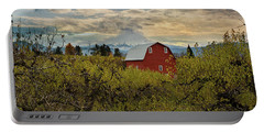 Red Barn At Pear Orchard Portable Battery Charger