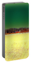 Red Barn, Blue Sky And Golden Field Portable Battery Charger