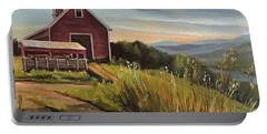 Red Barn By The Connnecticut River Portable Battery Charger