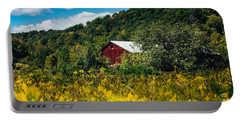Portable Battery Charger featuring the photograph Red Barn In Early Autumn by Shane Holsclaw