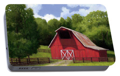 Portable Battery Charger featuring the painting Red Barn In Franklin Tn by Janet King