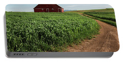 Red Barn In Green Field Portable Battery Charger