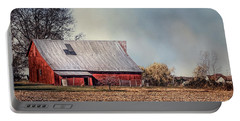 Red Barn In Late Fall Portable Battery Charger