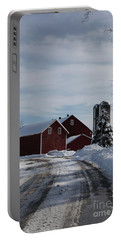 Red Barn In The Snow Portable Battery Charger