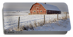 Red Barn In Winter Coat Portable Battery Charger