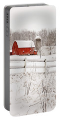 Red Barn In Winter Portable Battery Charger