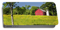 Portable Battery Charger featuring the photograph Red Barn In Yellow Goldenrod Field by Betty Denise