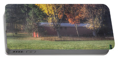 0041 - Red Barn On A Foggy Fall Morning Portable Battery Charger