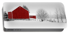 Red Barn Winter Landscape Portable Battery Charger