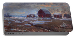 Red Barns In The Farm Portable Battery Charger