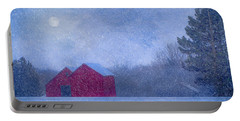 Red Barns In The Moonlight Portable Battery Charger