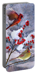 Red Birds Of Christmas Portable Battery Charger