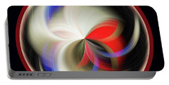 Portable Battery Charger featuring the photograph Red Black Orb by Judy Wolinsky