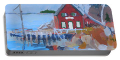 Portable Battery Charger featuring the painting Red Boat House by Francine Frank