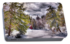 Portable Battery Charger featuring the photograph Red Boathouse After The Storm by David Patterson