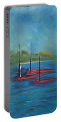 Portable Battery Charger featuring the painting Red Boats by Judith Rhue
