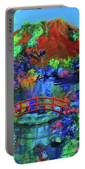 Portable Battery Charger featuring the painting Red Bridge Dreamscape by Jeanette French