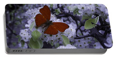 Red Butterfly On Cherry Blossoms Portable Battery Charger