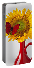 Red Butterfly On Sunflower On Red Pitcher Portable Battery Charger