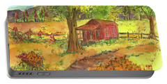 Portable Battery Charger featuring the painting Red Cabin In Autumn  by Cathie Richardson