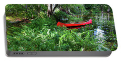 Red Canoe In The Adk Portable Battery Charger by David Patterson