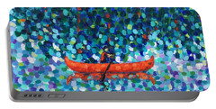 Portable Battery Charger featuring the painting Red Canoe On The Lake by Cristina Stefan
