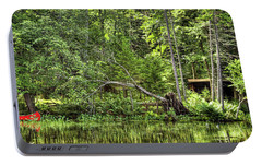 Portable Battery Charger featuring the photograph Red Canoe Panorama by David Patterson