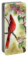 Red Cardinal And Blossoms Portable Battery Charger