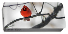 Portable Battery Charger featuring the photograph Red Cardinal In Snow by Marie Hicks