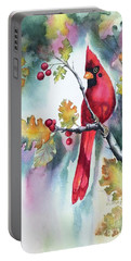 Red Cardinal With Berries Portable Battery Charger