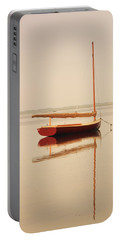 Red Catboat On Misty Harbor Portable Battery Charger by Roupen  Baker