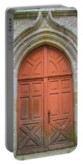 Red Church Door IIi Portable Battery Charger by Helen Northcott