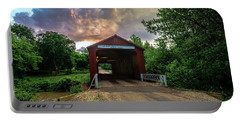 Red Coverd Bridge With Pretty Sky  Portable Battery Charger