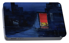 Portable Battery Charger featuring the painting Red Curtain by Anil Nene