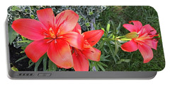 Red Day Lilies Portable Battery Charger