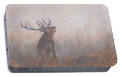 Portable Battery Charger featuring the painting Red Deer Stag Early Morning by David Stribbling