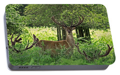 Red Deer Stag Portable Battery Charger by Rona Black