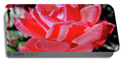 Red - Dew Covered  - Rose Portable Battery Charger