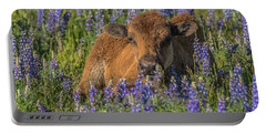 Red Dog In Bed Of Lupine Portable Battery Charger