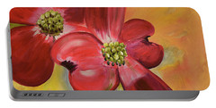 Red Dogwood - Canvas Wine Art Portable Battery Charger by Jan Dappen