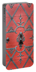Portable Battery Charger featuring the photograph Red Door In Prague - Czech Republic by Melanie Alexandra Price